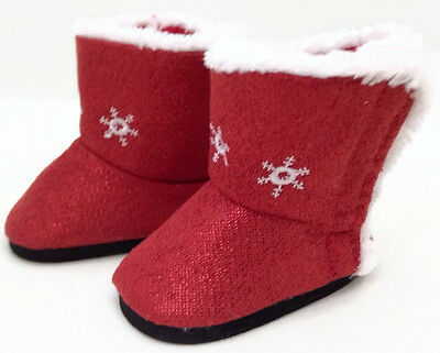 Red Sparkle Boots Shoes w/Snowflakes fits 18 inch American Girl Doll Clothes