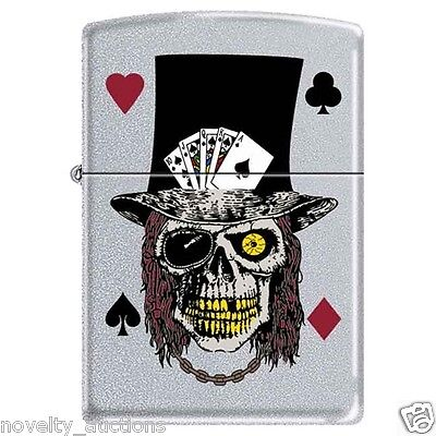 ZP7  ZIPPO 852212 Skull with Top Hat cards 4 suits poker  Windproof Lighter  NEW