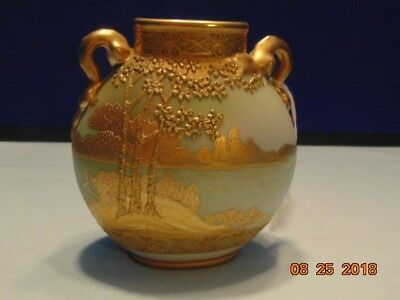 Vintage Nippon Vase Hand Painted Pattern With Thick Gold Moriage