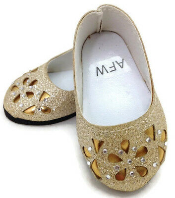 "Gold Glitter Flats w/Floral Cutout Shoes fits 18"" American Girl Doll Clothes"