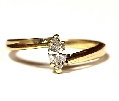 14k yellow gold .33ct SI1 I marquise diamond solitaire engagement ring 2.5g