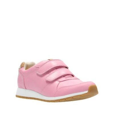 Clarks Zest Max Girls Pink Leather Trainers Shoes Size UK 11 F