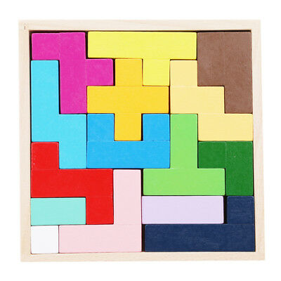 Colorful 3D Wooden Tangram Brain Teaser Puzzle Toys Tetris Game Kids Preschool