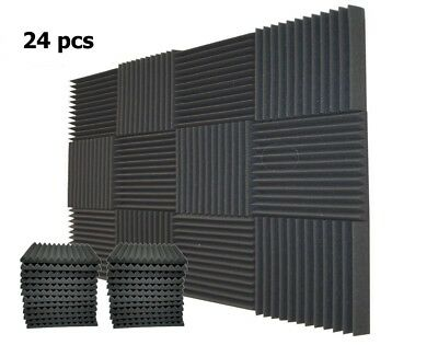 "24 Pack 1"" x 12"" x 12"" Acoustic Foam Tiles Panel Wedge Studio Soundproofing Wall"