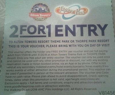 2 for 1 entry to alton towers or thorpe park