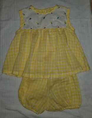 Vintage 2T yellow gingham 2 piece swing top bloomers outfit 1980's Silverette