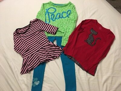 3 Girls Tops Sz 10/12~Long Sleeve~Leggings~Justice~Faded Glory