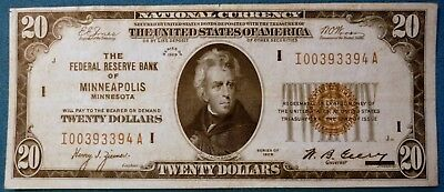 1929 $20 Federal Reserve Bank Note ~ Brown Seal ~ Bank of Minneapolis F-1870i #2