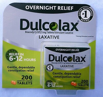 Dulcolax Laxative Tabl 5mg Bisacodyl USP Constipation Relief 200 Tablets 09/2020