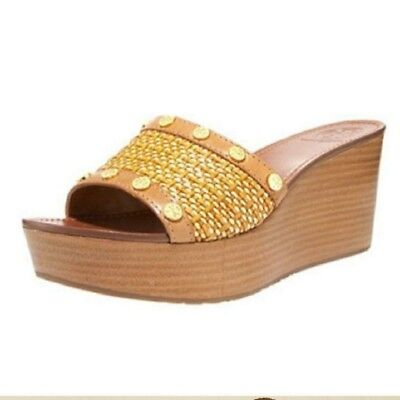 0a2e2b7c207620  255 TORY BURCH Joanie Studded Straw Clogs Wedge Sandals Flats Shoe ...