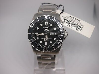 SEIKO 5 SNZF17 Stainless Steel Sports Automatic Men's Black Watch SNZF17K1 +Gift