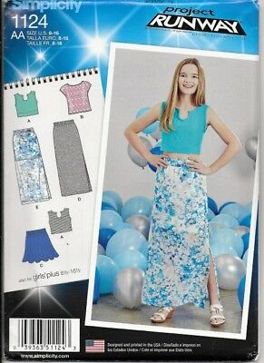 1c206135ab1 SIMPLICITY 1124 TWEEN Girls    Girls  Plus Skirts and Tops Sewing ...