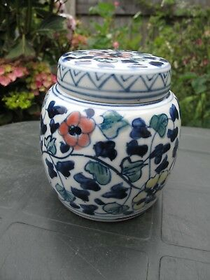 19th / 20th Century Chinese Porcelain Ginger Jar with Flowers Double Circle Mark