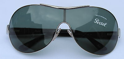 New - PERSOL 2304-S Lightweight Black Silver Shield Style Sunglasses Grey Lenses