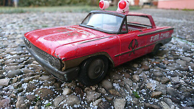 Ford Galaxie 1961 Fire Chief Blechauto Friktion Tin Toy friction