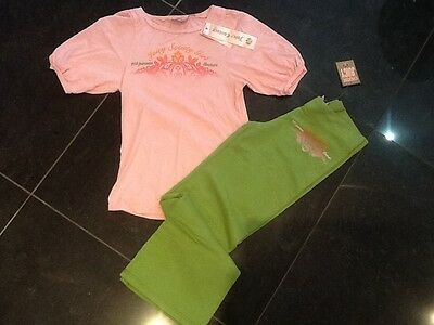 NWT Juicy Couture New Gen. Girls Age 8 Green Cotton Pants & T-Shirt With Logo