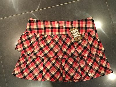 NWT Juicy Couture New & Genuine Girls Age 10 Check Cotton Skirt With Juicy Logo