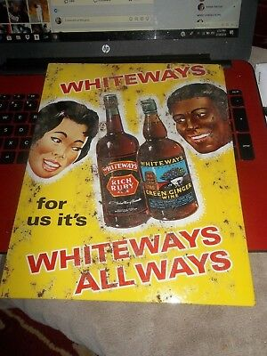 Vintage Whiteways Wine Tin Sign Great Graphics Lovely African American Couple NR