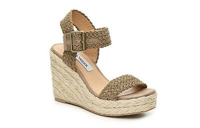 b8aa9bc61a7 STEVE MADDEN WOMEN'S Valley Wedge Sandal, Olive Fabric, 10 M US ...
