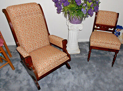 Antique Eastlake Victorian Arts Crafts Style Rocking Chair Set Floral 1880 1890