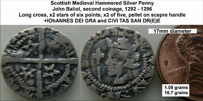 a4:  John Baliol St Andrew's Scottish Hammered Silver Penny.  (WSC-5583)