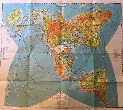 Vintage US Air Force Physical-Political Global Chart Map 1956