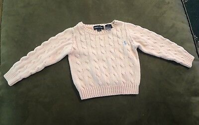 Ralph Lauren 2T Toddler Girls Pink Cable Knit Sweater