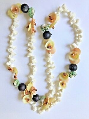 Vintage Shell and Bead Lei Necklace From Hawaii - NEW