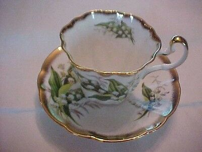 VINTAGE CUP & SAUCER; ADDERLEY BONE CHINA; WHITE FLOWERS with GOLD DETAILS