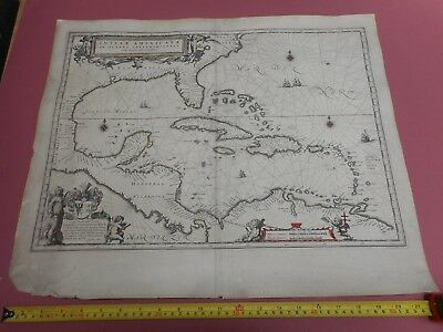 100% Original Large West Indies Insvlae Americana Map By J Blaeu C1662 Florida