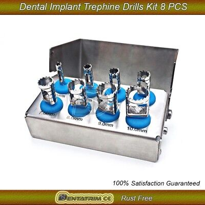Dental Trephine Drills Kit 8 Pcs Implant / Dental Surgery Bur Holder NEW