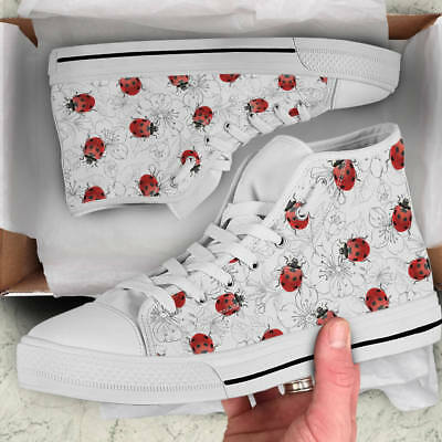 Ladybug & Flowers Lover Women's High Top Shoes - Ladybird Custom Canvas Shoes