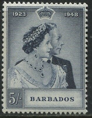 Barbados KGVI 1948 Silver Wedding 5/ mint very lightly hinged