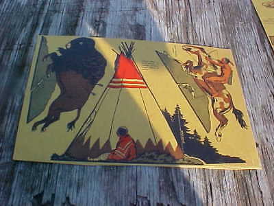 Vintage Back FULL Panel Post Cereal Box Cut-outs  tepee Indian on horse buffalo