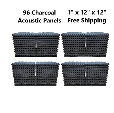 """96 Pack 1"""" x 12"""" x 12"""" Acoustic Foam Tiles Panel Wedge Studio Soundproofing Wall"""