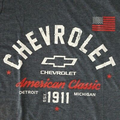2fdd1574 Chevrolet Men's Large T-shirt Licensed American Classic Muscle Car Flag  Detroit
