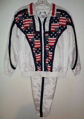 VTG 80s TRACKSUIT JACKET PANTS USA AMERICAN FLAG RED WHITE BLUE WOMENS PETITE S