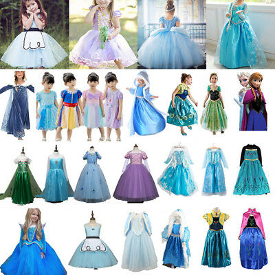 Girls Costume Frozen Snow White Rapunzel Cinderella Dresses Cosplay Fancy Dress