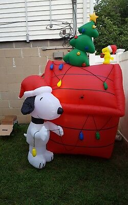 rare gemmy airblown inflatable christmas snoopy woodstock doghouse