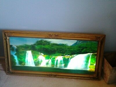 Nice Vintage Lighted Motion Moving Waterfall Picture Lamp Light