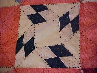Vintage 1920/30s  QUILT, LOTSA PATTERNED RED &  BLACK EMBROIDERY
