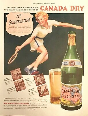 1937 Canada Dry Ginger Ale Print Ad-  Illustration Pretty Woman Playing Tennis