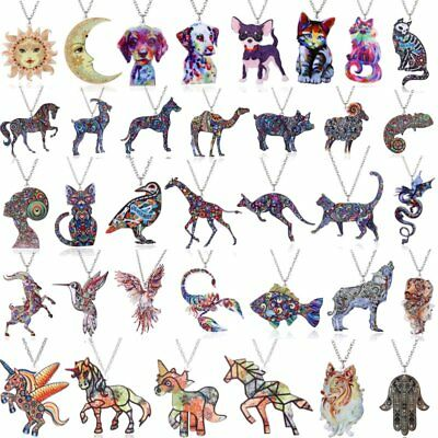 Fashion Print Pattern Dragon Cat Moon Sun Pendant Chain Necklace Women Xmas Gift