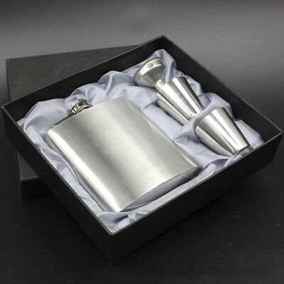7oz Pocket Stainless Steel Wrapped Liquor Hip Flask Funnel Cup Set Boxed