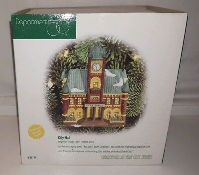 NIB Dept 56 CITY HALL Christmas In The City Series Lighted Ornament #98771 NEW