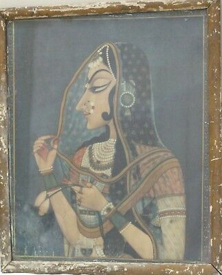 Vintage Early Print With Antique Original Framed Traditional Beautiful Lady