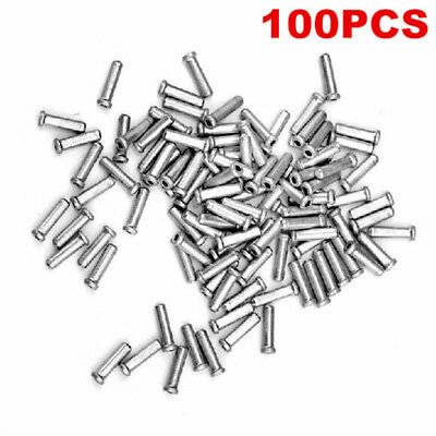 100 X Bicycle Brake Cable End Cap MTB Cycling Bike Shifter Wire Crimp Tip Silver