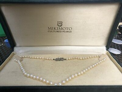 Mikimoto Cultured Pearls In Box Vintage