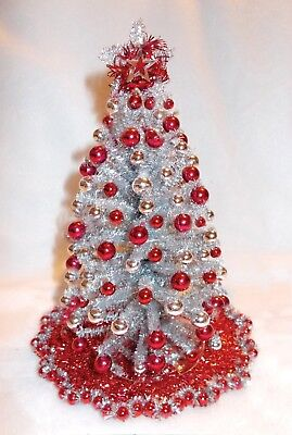 "New Ooak 8""lighted Silver~Red Dollhouse Miniature Christmas Tree Modern"