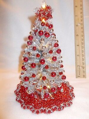 "New! Ooak 8""lighted Red~Silver Dollhouse Miniature Christmas Tree Hand Designed"